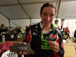 Indra met haar leistenen trofee: 2e plek in The Brutal